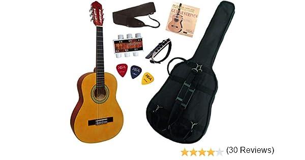 Guitarra española clásica (tamaño 1/4), color natural: Amazon.es ...