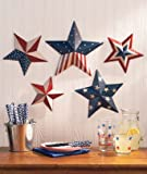 Patriotic Wall Decor - Set of 5 Metal, Eye-Catching Painted Stars (3-D)