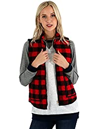 Women's Herringbone Print Vest With Zipper/Checker Plaid Vest With Zipper