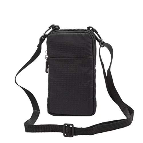 (PT Universal Multipurpose Carry Case Pouch Nylon Sporty Smartphone Holster Belt Clip Waist Bag For Iphone 7 Plus Samsung Galaxy S7 Edge Note 5 Iphone 6S (Black))