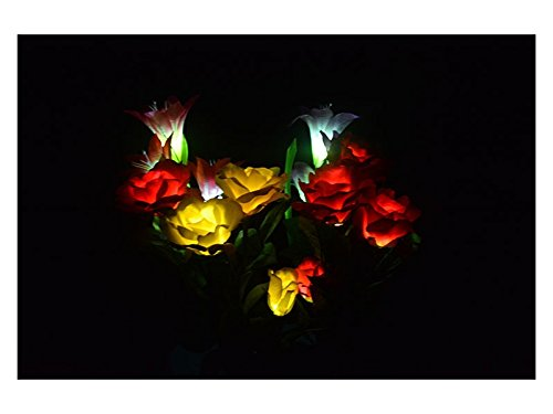 Junson Laptop Solar Rose Light Led Lights Flower Energy Fairy String Lamp Colour Patio Lamp Artificial Flowers for Home Lawn Room Reading Lamp