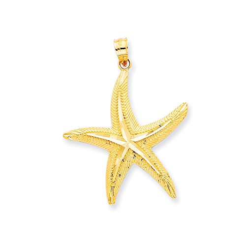 ICE CARATS 14kt Yellow Gold Starfish Pendant Charm Necklace Sea Shore Shell Life Fine Jewelry Ideal Gifts For Women Gift Set From (14k Gold Starfish Necklace)
