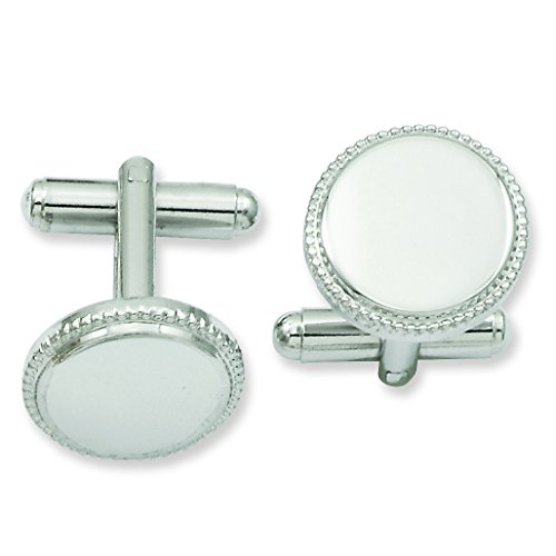 Shop4Silver Rhodium-Plated Polished Beaded Round Cuff Links