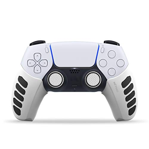 NiTHO PS5 GAMING KIT, Customizing Skin Grip Handle Cover for Sony PS5 Dualsense Controller with Thumb Grips White (PS4)