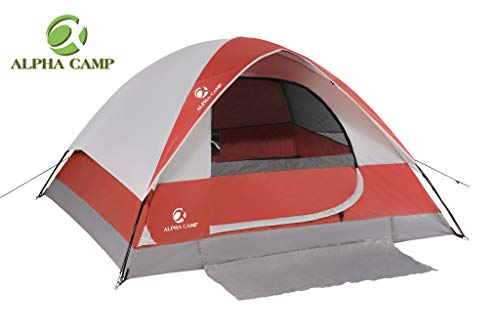 ALPHA CAMP 2-Person Camping Dome Tent with Carry Bag, Lightweight, Waterproof, Portable Backpacking for Outdoor Camping/Hiking/Beach, Red