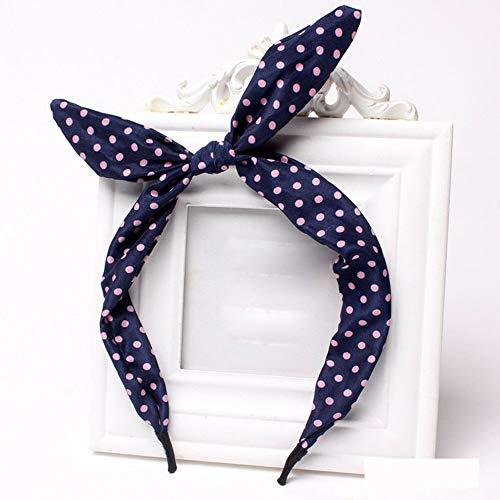 Women Girls Bow Dot Stripe Floral Leopard Rabbit Ear Lovely Hair Hoop Hairband (Color - navy dot)