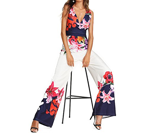 Women Deep V Neck Flower Print Zip Back Sleeveless Jumpsuit High Waist Wide Leg Jumpsuit,Multi,M