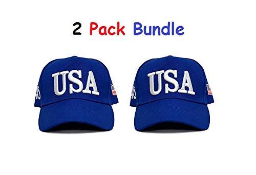 - Donald Trump USA 45th President and Embroidered American Flag [2 Pack] Adjustable Baseball Hats MAGA Caps (USA 45 - Blue)