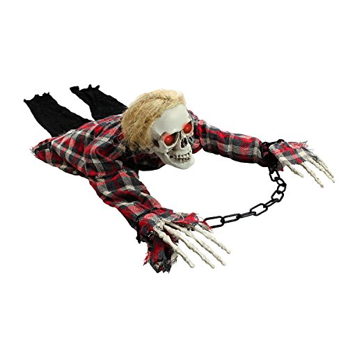 Halloween Haunters Animated Crawling Skeleton Zombie Prisoner Torso Groundbreaker with Moving Body LED Eyes Prop Decoration - Locked in Chains & Shackles - Haunted House Graveyard Tombstone Display