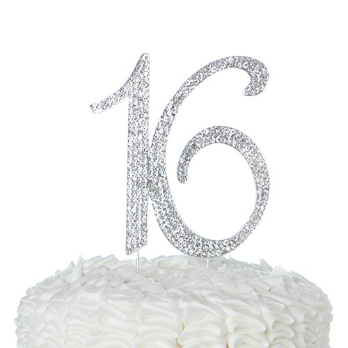 Ella Celebration 16 Cake Topper 16th Birthday Party Supplies Decoration Ideas Silver Rhinestone Number (Silver)