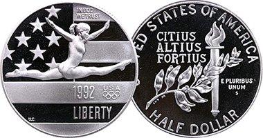 (1992 S Olympic Commemorative Gymnastic Half Dollar Proof US Mint)