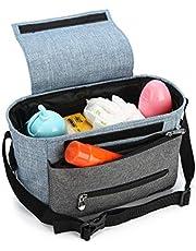 Kinderwagen Organizer, Universale Baby Kinderwagentasche Buggy Tasche mit Stahlring und verstellbaren Bändern