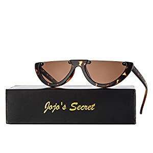 JOJO'S SECRET Half Frame Women Cat Eye Sunglasses Brand Designer Fashion Eyewear JS037 (Leopard/Brown, 2.6)