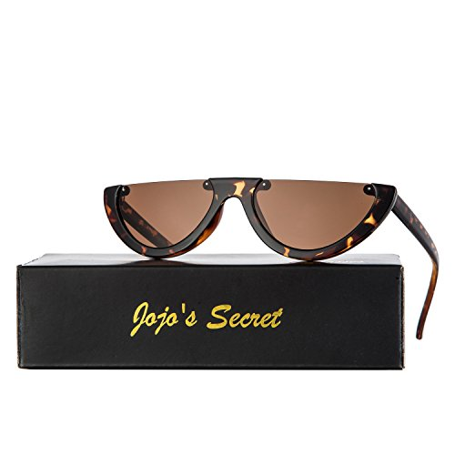 JOJO'S SECRET Half Frame Women Cat Eye Sunglasses Brand Designer Fashion Eyewear JS037 (Leopard/Brown, - Sunglasses Designer Cat Eye Best