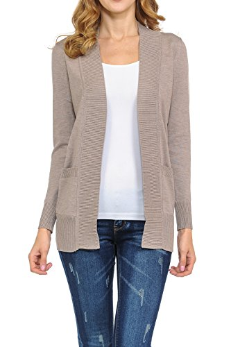KB Apparel Women's Classic Casual Solid Open Front Sweater Knit Cardigan Heath Taupe Small
