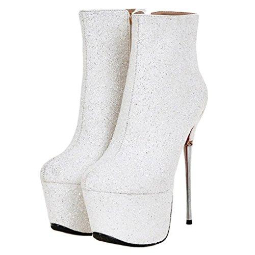 Scarpe Da Donna In Tessuto Con Glitter Scintillanti E Scarpe Con Tacco Alto Bianche Con Cerniera