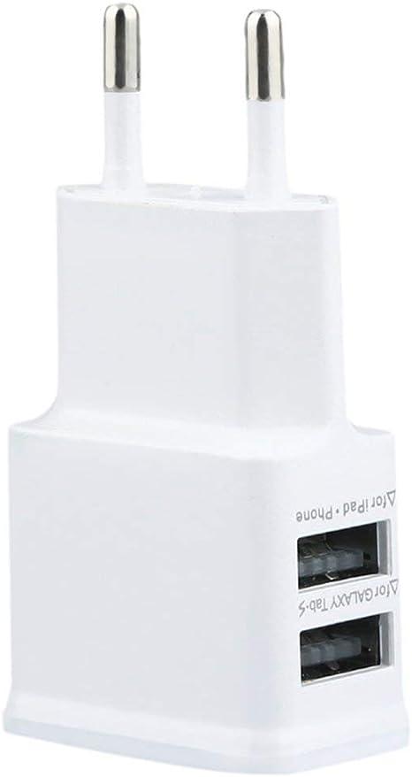 Heaviesk Universal portátil 5V 2A Puerto USB Doble Adaptador de Viaje Cargador de Pared de CA de la UE para la Tableta del teléfono móvil: Amazon.es: Deportes y aire libre