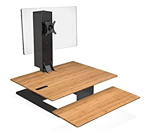 E7 Electric Standing Desk Converter with Bamboo Desktop and Black Base