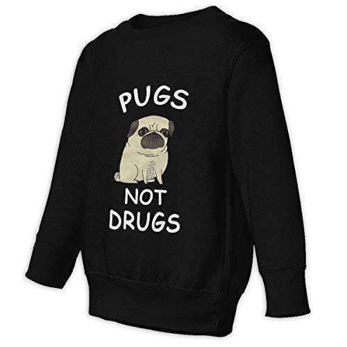 GWCU Pugs Not Drugs 2-6T Baby Boys Girls Long Sleeve Crew Neck Cotton Hooded Toddler Kids Sweatshirt Fleece Pullover Child Sweatshirt