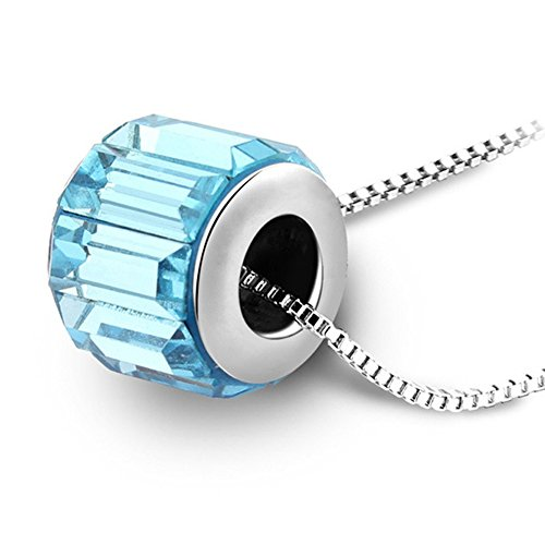 Women Elegant Lucky Rotor Round Swarovski Element Crystal Pendant Necklace Jewelry (Navy Blue)
