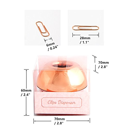 METAN 100pcs Rose Gold Paper Clips 28mm in Magnetic Lid Acrylic Paper Clip Holder for Office Supplies Desk Organizer Photo #2