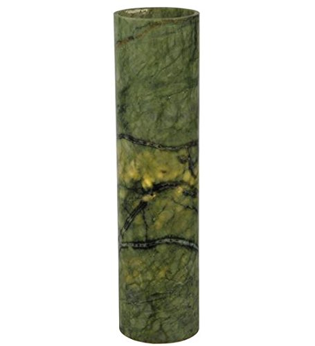 Meyda Tiffany 123469 Cylinder Jadestone Flat Top Candle Cover/Holder, 4'' Width x 15.75'' Height, Green