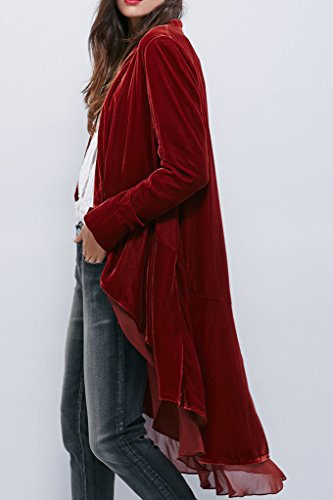 R.Vivimos Womens Ruffled Asymmetric Long Velvet Blazers Coat Casual Jackets 5