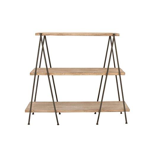 Benzara Antique Colonial Useful Wood Metal 3-Tier Shelf, Light Brown, Black