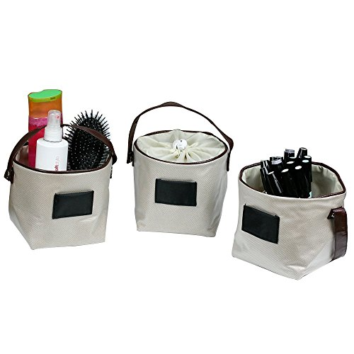 G.U.S Drawstring Storage Bins Set of 5 with Leatherette Handles, Bags For Small Item (Leatherette Handle)