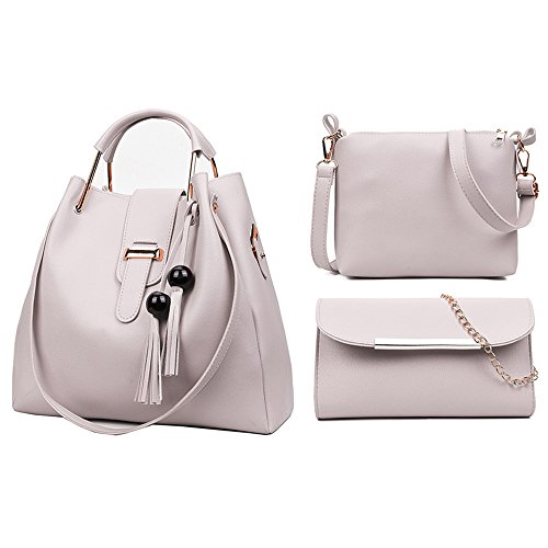 Multi Purpose Hand Makeup 3Pcs Bag amp; Design Lightweight Bag Clutch Fashion Bag Leather Silver Bag Hand Casual Durable Crossbody PU FLO Women Bag Shoulder Set Set pZBwaa