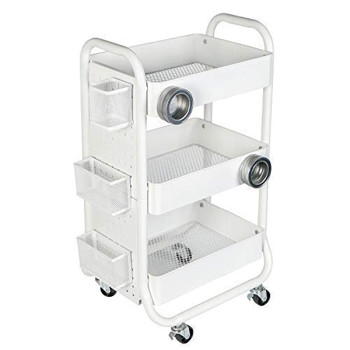 DESIGNA 3-Tier Metal Rolling Storage Cart with Utility Handle and Extra Storage Accessories, White