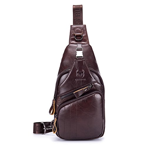 BULL CAPTAIN Shoulder Backpack Casual Cross Body Bag Genuine Leather Ipad Mini Pack Travel Sling Bag XB-105 (Coffee, Big)