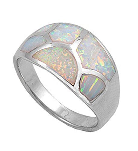 White Simulated Opal Mosaic Crack Wave Web Ring .925 Sterling Silver Band Size 6