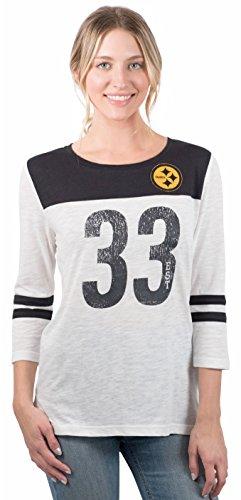 - ICER Brands Women's T Vintage 3/4 Long Sleeve Tee Shirt, White, Medium