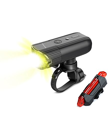 DGYAO Bike Headlight kit Bicycle Headlight Set USB Rechargeable Front Lamp 4000 mAh Power Bank Free Rear Light IP65 Waterproof Easy to Mount for Kids Men Women Road Cycling Safety Commuter Flashlight