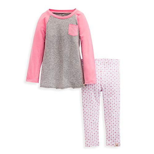 Burt's Bees Baby Baby Girls' Toddler Top and Pant Set, Tunic and Leggings Bundle, 100% Organic Cotton, Water Lily 2T