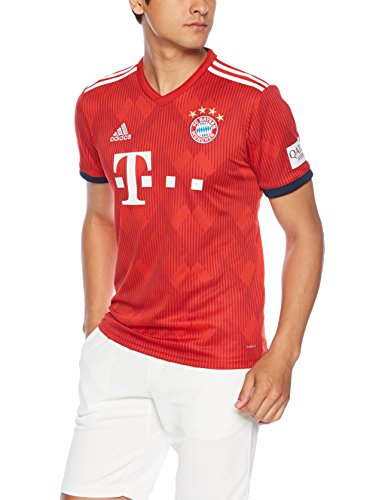 adidas FC Bayern Munich 2018/19 Short Sleeve Home Jersey - Adult - FCB True Red/Strong Red F11/White - Small