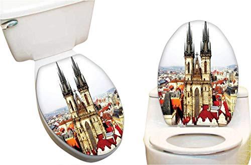 (SeptSonne Toilet Cover Sticker Bird Eye Prague View Church Castle Hous Autumn Old Town Square Creative Toilet Cover Stickers 13