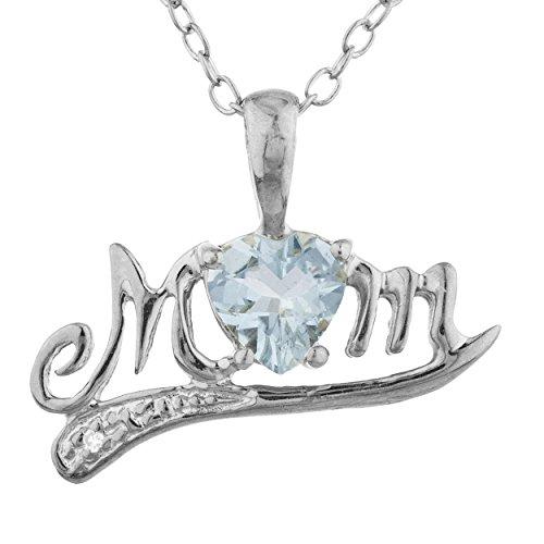 Pendant Mom Marine - 0.50 Ct Genuine Aquamarine & Diamond Heart Mom Pendant .925 Sterling Silver