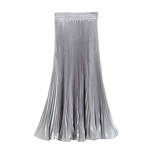 creativity8 Vintage Pleat Maxi Long Skirt Women's Shiny Metallic Silk Bright Pleated Skirt High Waist Half-Length Dress (Light Gray) Shiny Silk Dress