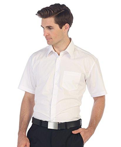 Gioberti Men's Short Sleeve Solid Dress Shirt, White, M