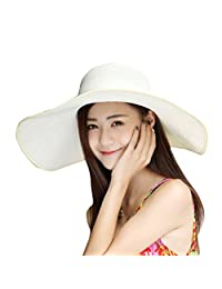 Women's Summer Wide Brim Beach Hats Sexy Chapeau Large Floppy Sun Caps
