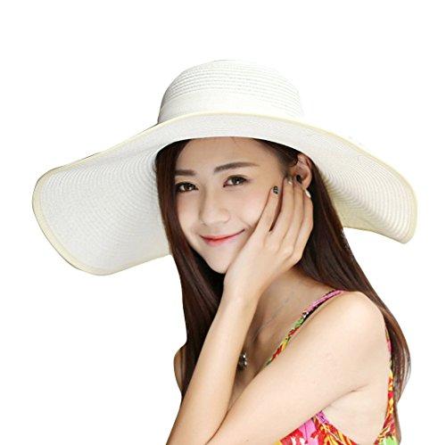 Women's Summer Wide Brim Beach Hats Sexy Chapeau Large Floppy Sun Caps (Cream-Colored 5)