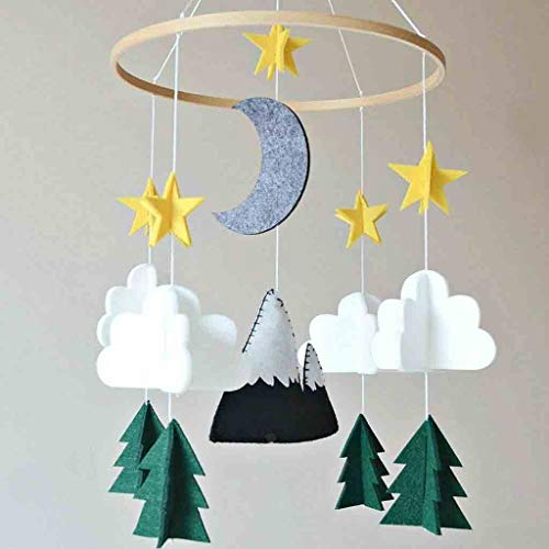 HIKO23 Hanging Mobile Art Nursery Decor Boys Girls Kids Infant Ceiling Home Decoration Hanging Ornaments with Cloud, Moon,Stars, Forest Decor 3D Design