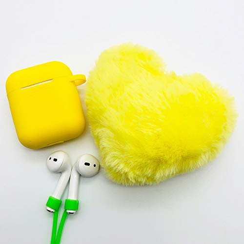 Ztowoto Airpods Case Keychain Protective Silicone Cover and Skin for Apple Airpods Charging Case with Love Shape Pompom Keychain and Airpods Staps (Yellow)