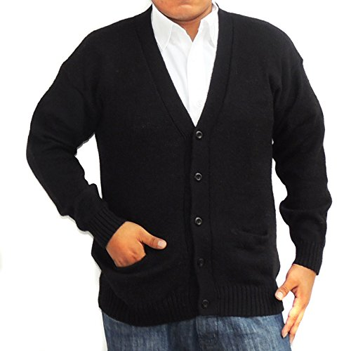 V-neck Wool Blend Cardigan (CELITAS DESIGN Alpaca Cardigan Golf Sweater Jersey V neck buttons and Pockets made in Peru Black M)