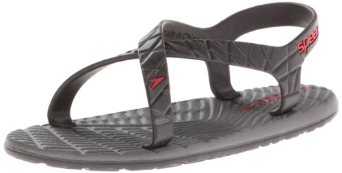 Speedo Exsqueeze Me Flow-Kids Zori Slip-On (Little Kid/Big Kid),Black/Extreme Red,2 M US Little Kid