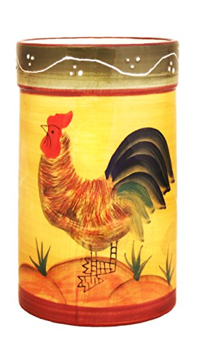 Tuscany Province Sunshine Rooster, Hand Painted Ceramic Kitchen Tool Set, 89338 by ACK