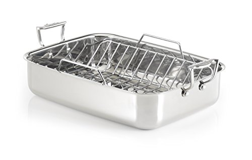 Lagostina T9910164 Stainless Steel 16-Inch Rectangular Roasting Pan Chicken Roaster with Rack Cookware, Silver For Sale