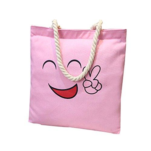 Tote Mujer De Cara Bandolera Lona Bolsos CTOOO Sonriente rosa3 Impresión Bolso Shopper De HwC0AHqWB